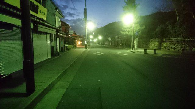 観光エリアの嵐山夜景、京都府京都市